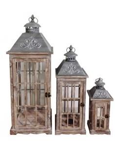 Set de 3 lanternes en bois