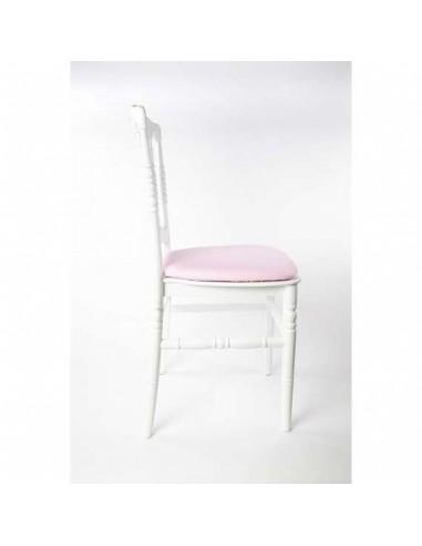 Chaise napoléon blanche avec assise rose pâle