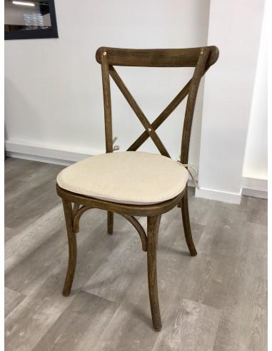Chaise en bois Champêtre avec coussin tissu lin