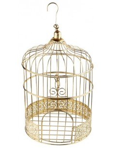 Cage à oiseau or