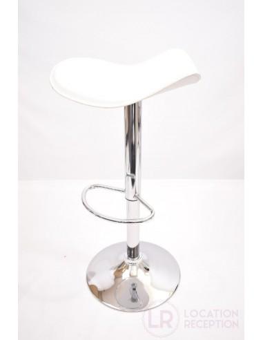 Tabouret haut blanc assise molletonnée