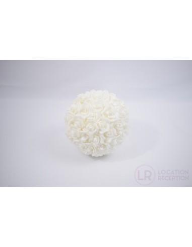 Boule de rose blanche 25 cm
